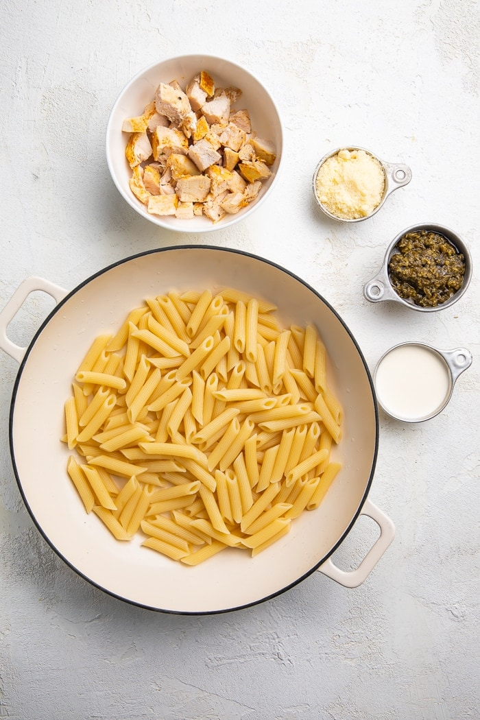 Ingredients for chicken pesto pasta