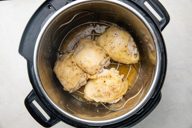 Cooked chicken thighs in an Instant Pot
