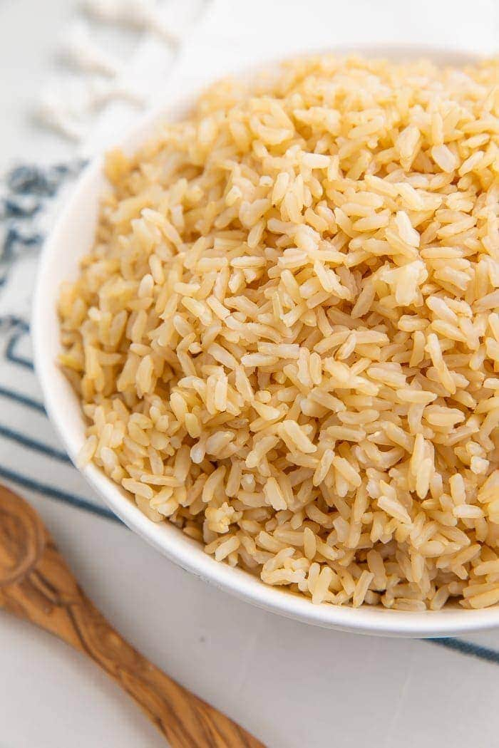 Brown rice in a white bowl