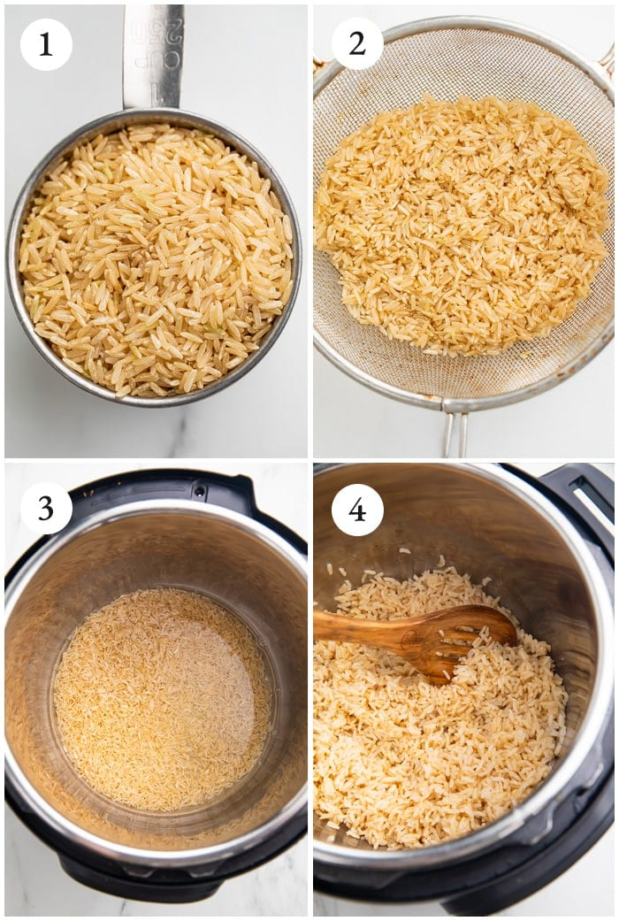 Instructions for cooking brown rice in the Instant Pot