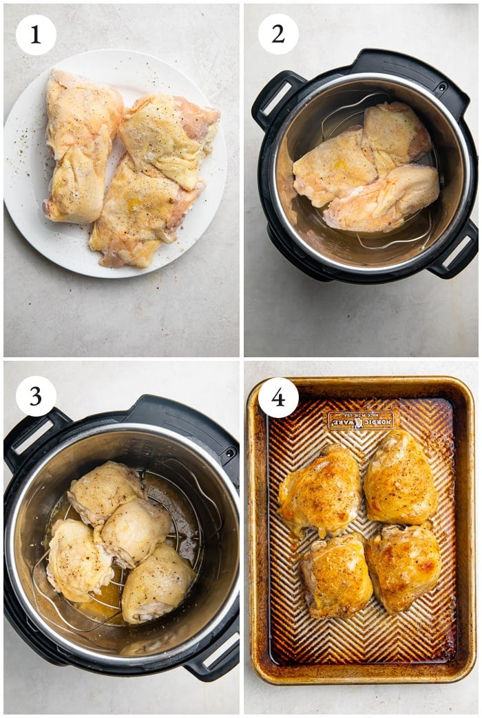 Instructions for cooking chicken thighs in the Instant Pot