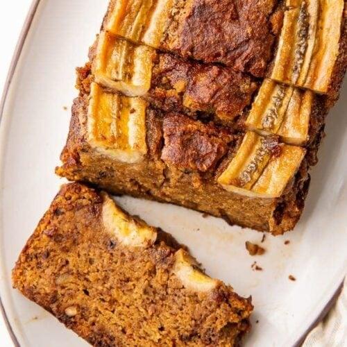 Almond flour banana bread on a plate