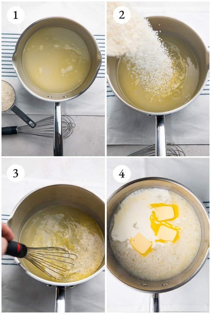 Instructions for making creamy grits recipe