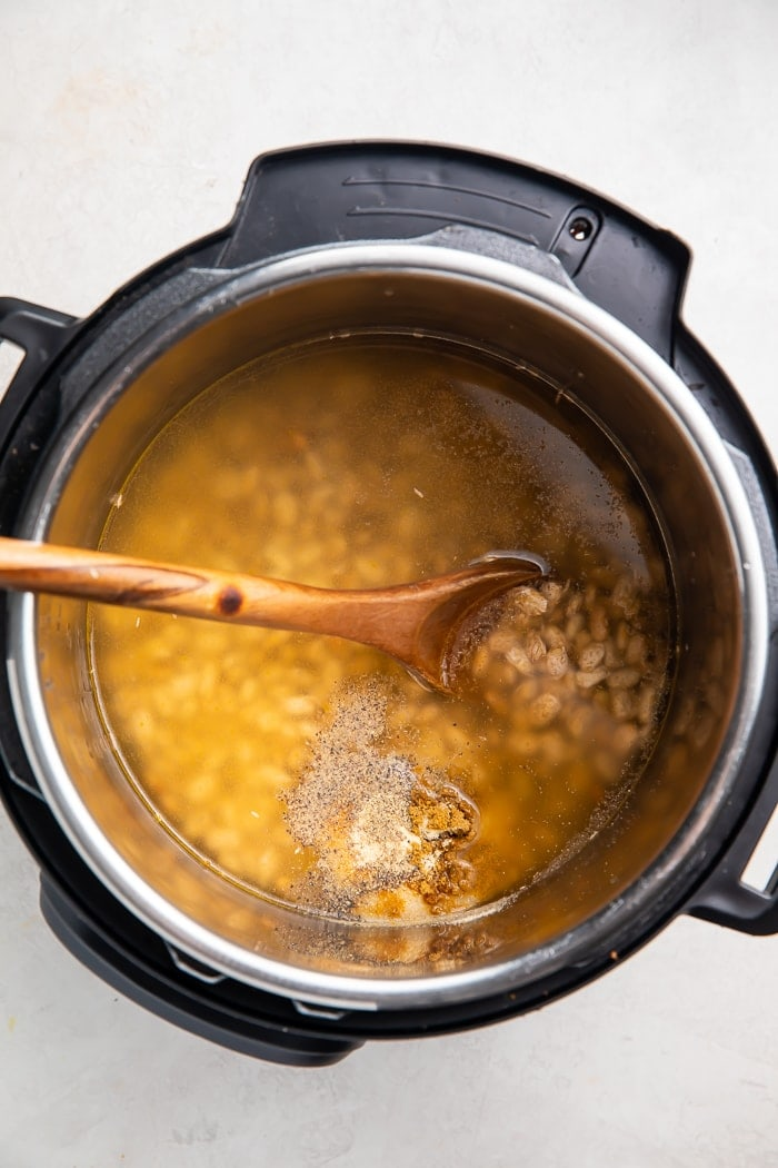 Water and beans in the Instant Pot