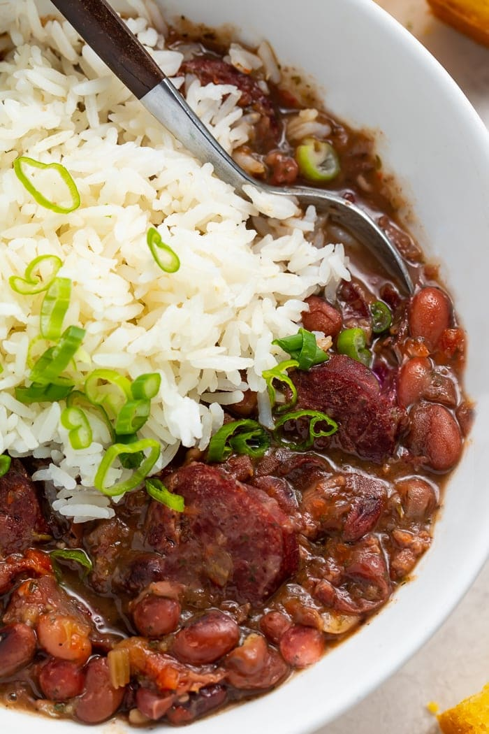 Red beans and rice in a bowl with a spoon