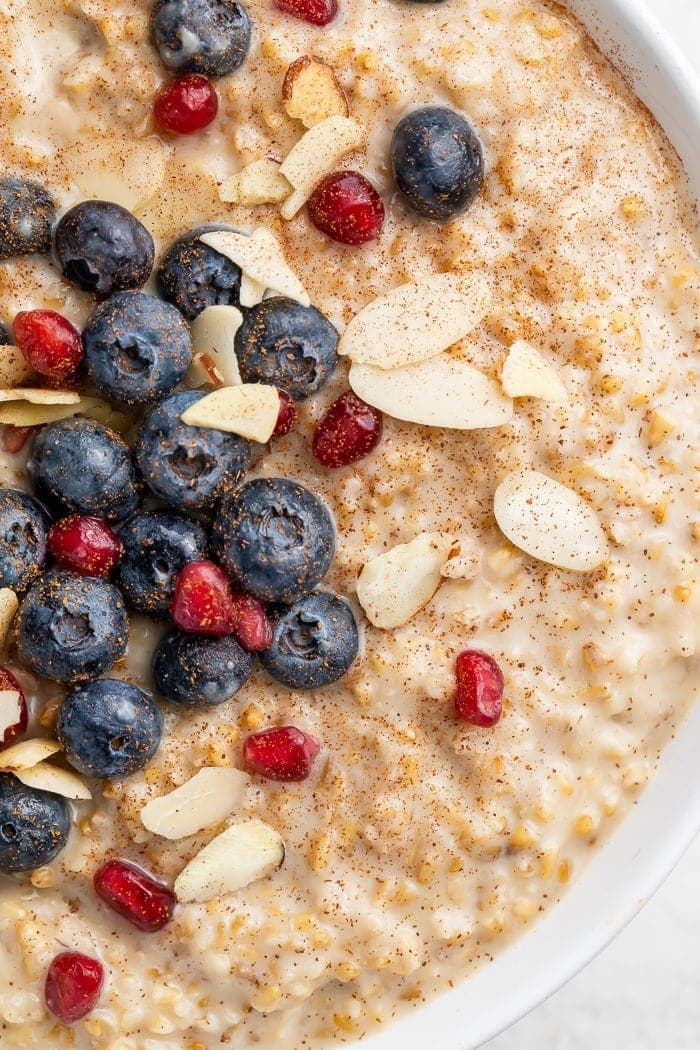 Bowl of overnight steel cut oats