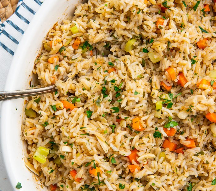 Rice pilaf in a baking dish