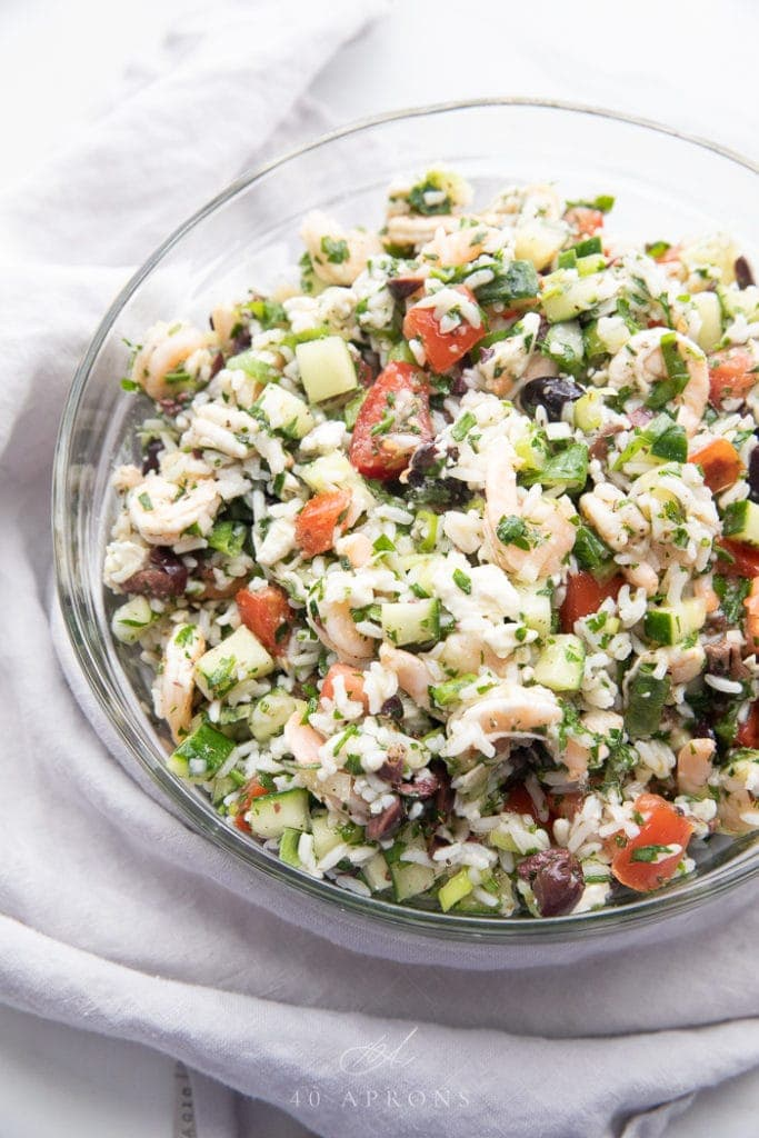 Greek shrimp salad with feta and rice