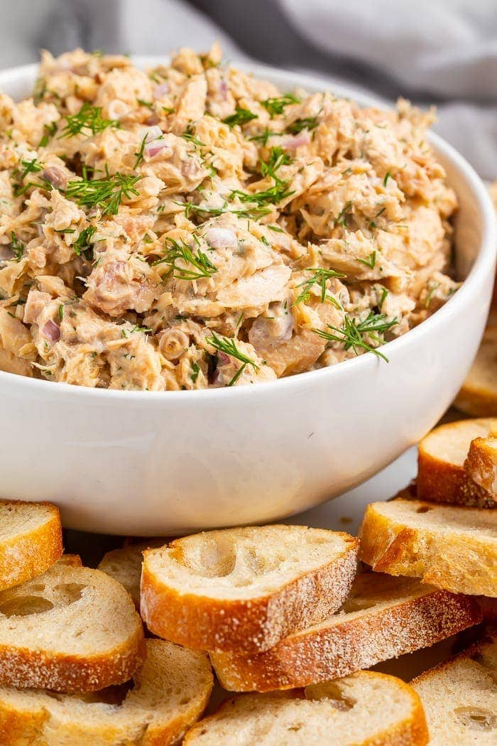 Canned salmon salad in a bowl