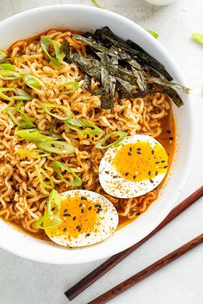 Spicy ramen in a bowl