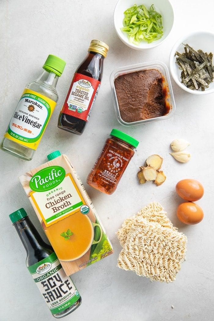 Ingredients for spicy ramen
