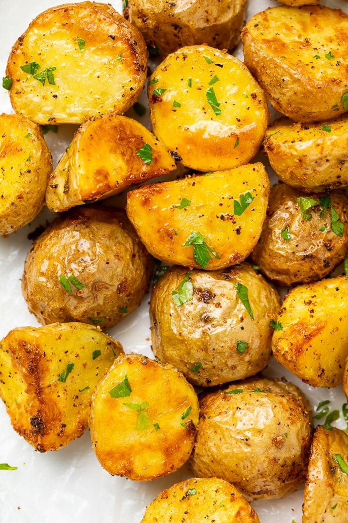 Close-up of air fryer potatoes