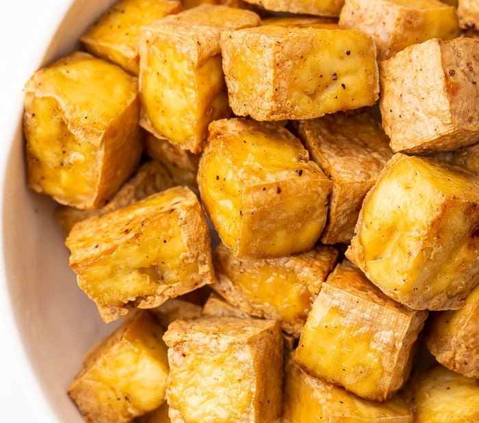 Air fryer tofu in a bowl