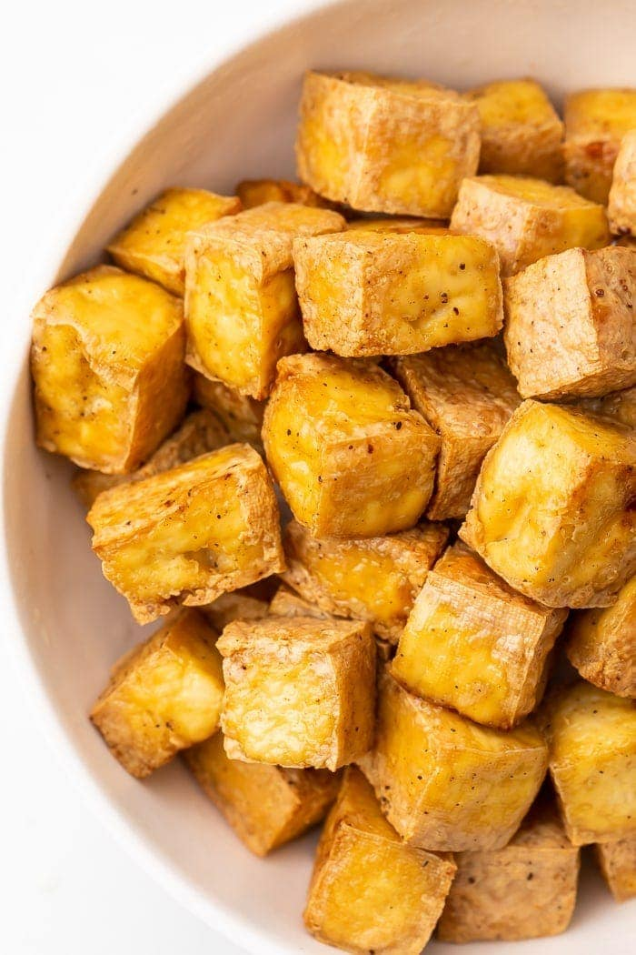 Close-up of air fried tofu in a bowl