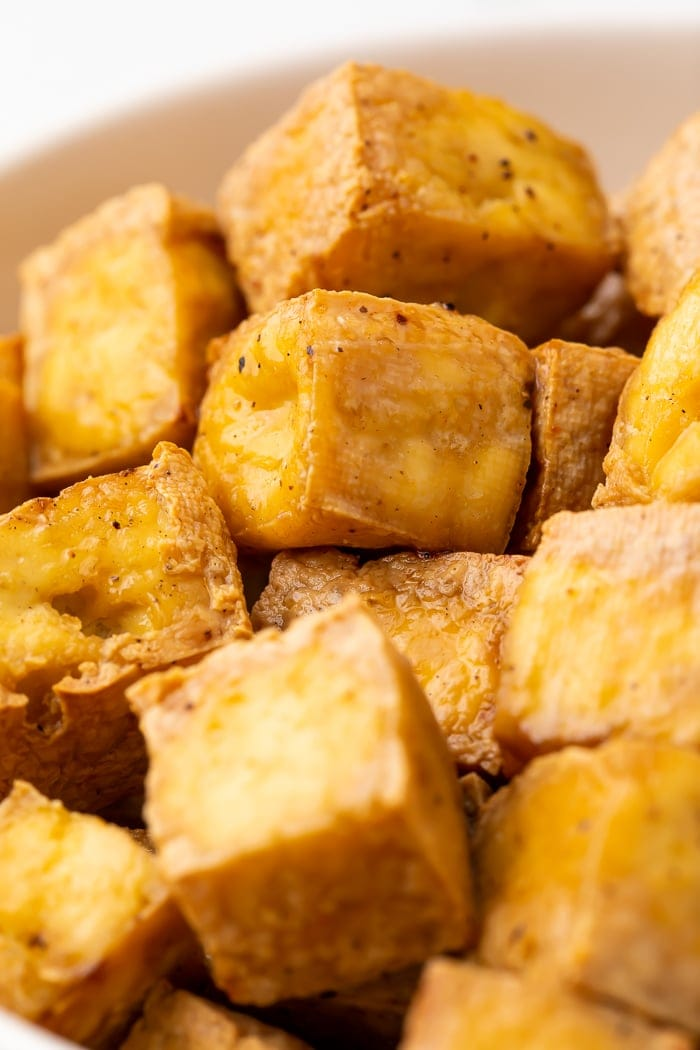 Close-up of air fryer tofu