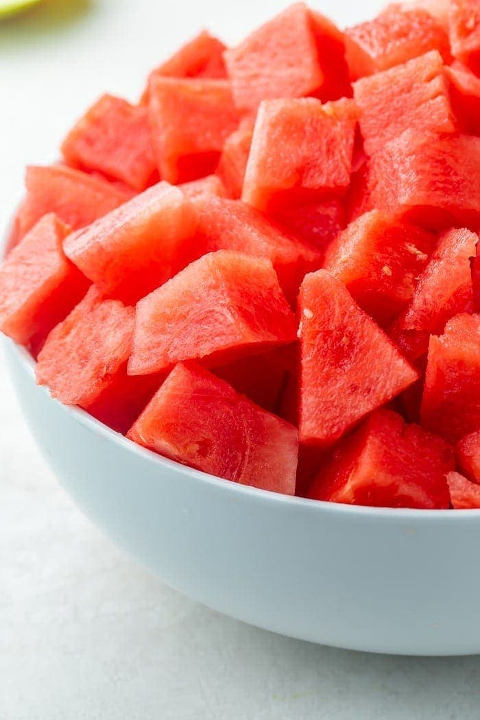 Bowl of cubes of watermelon