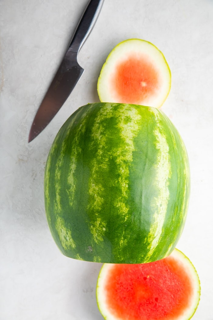 Watermelon with the ends cut off