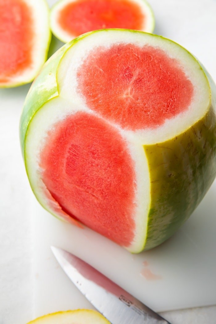 Watermelon with part of the rinds cut off