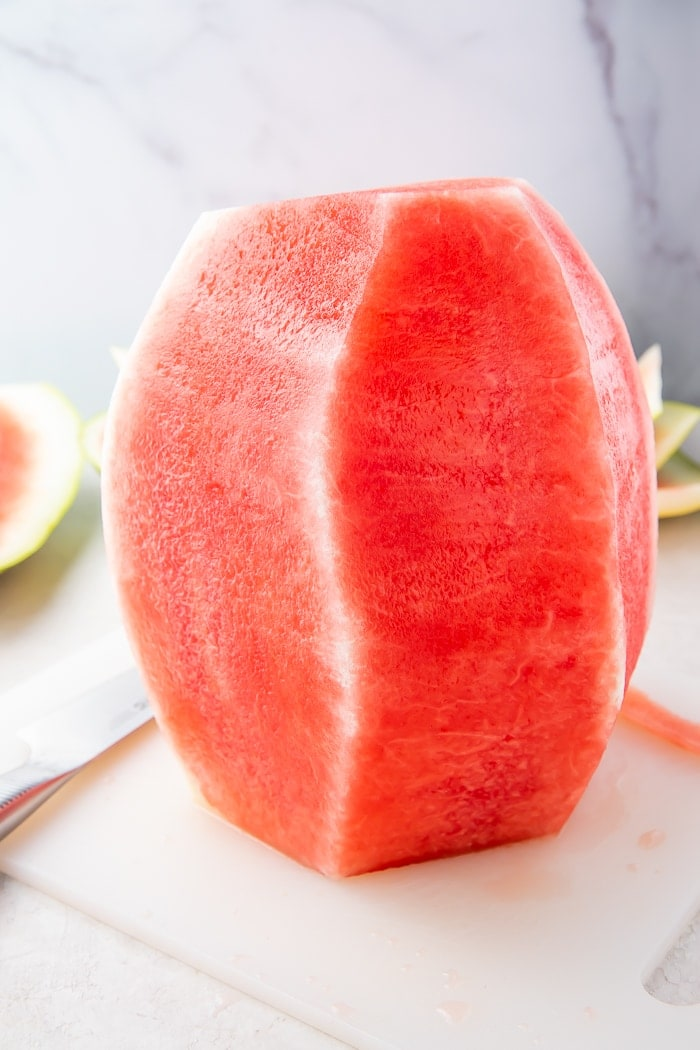 Watermelon standing up with rind removed