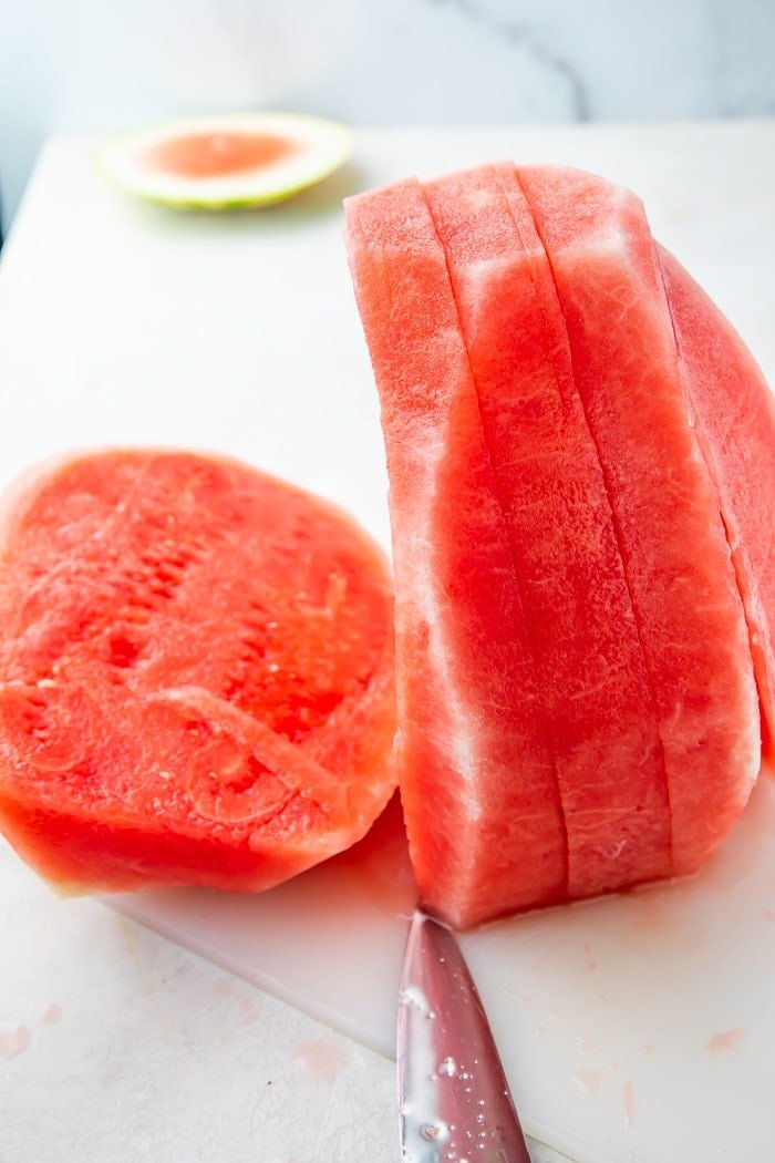Watermelon cut into one inch slices