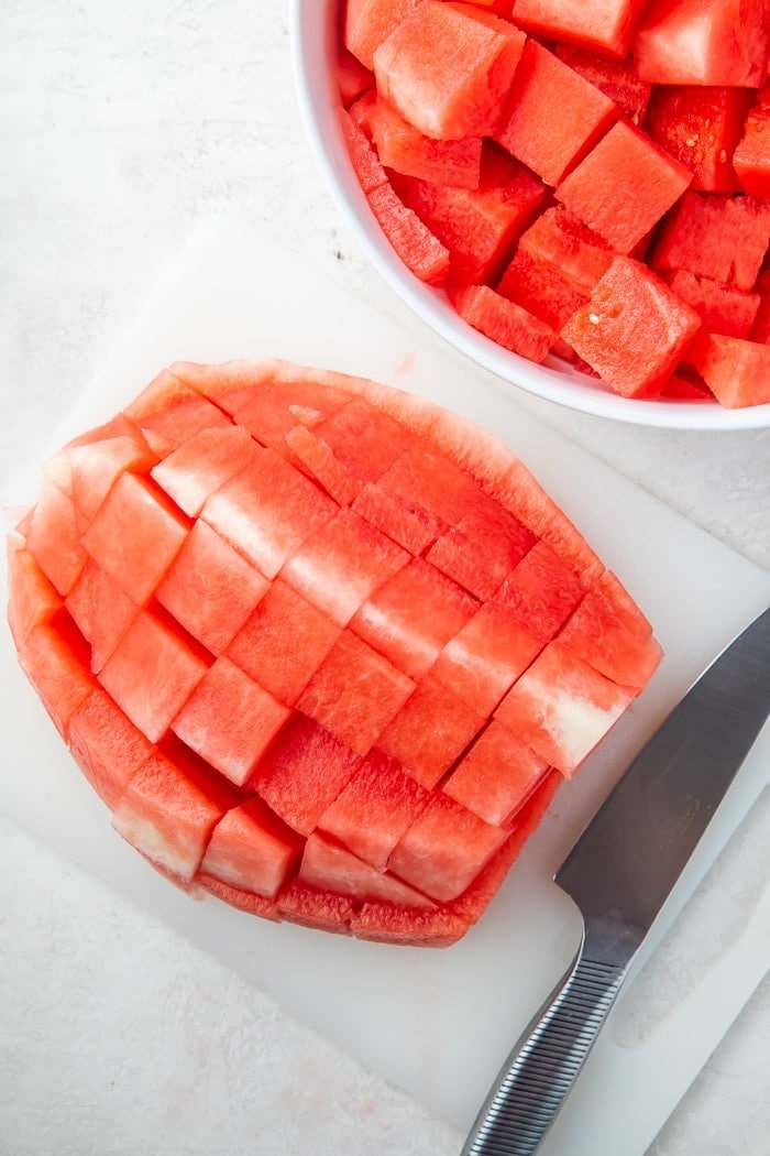 Watermelon cut into cubes
