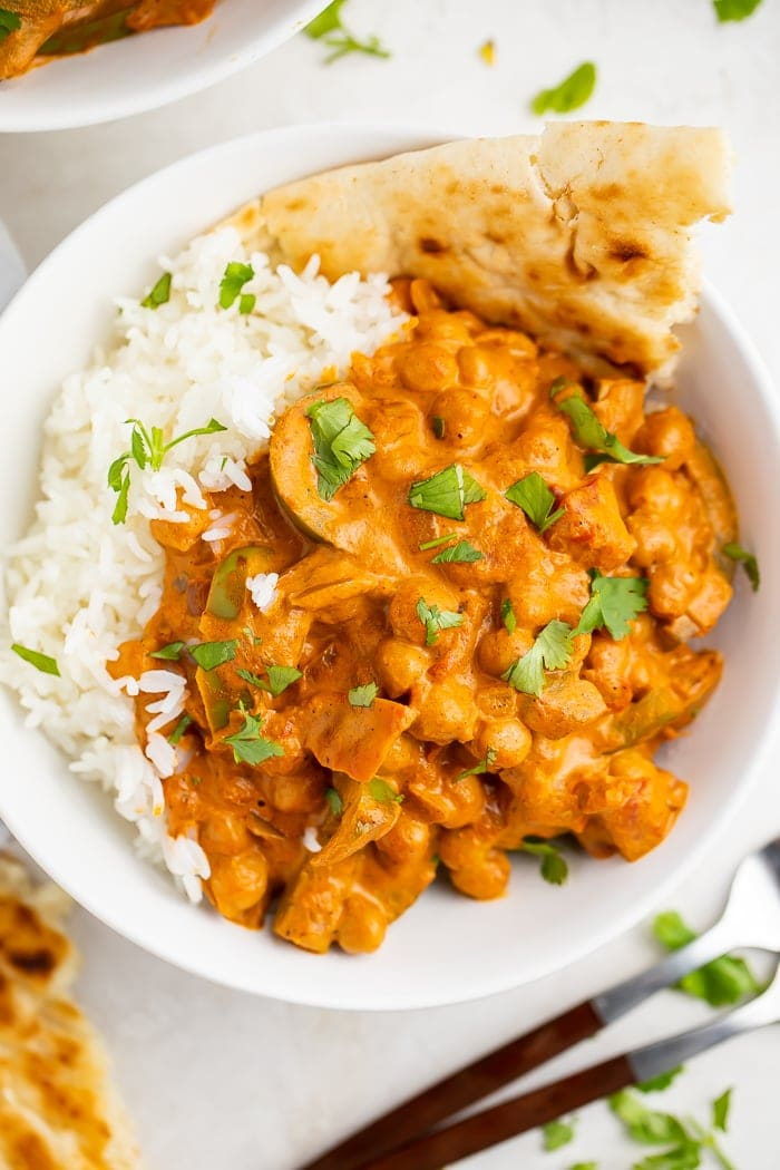 Bowl of chickpea tikka masala