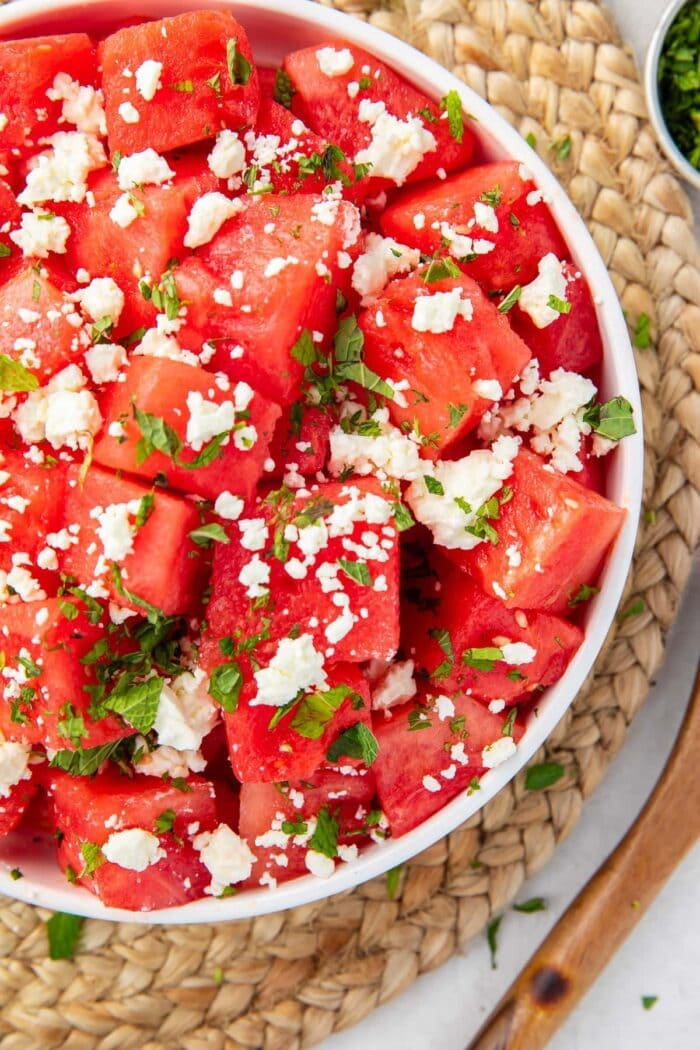 Bowl of watermelon and feta salad with mint