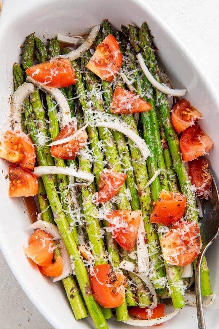 Asparagus salad in a bowl