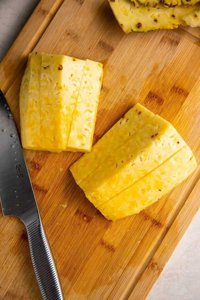 Pineapple cut into 3 slices