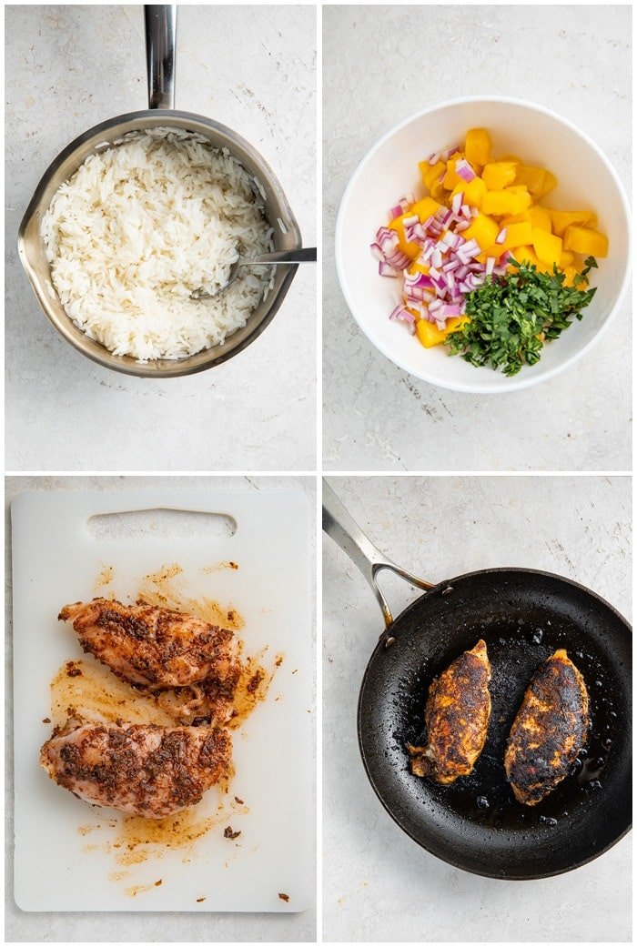 Instructions for jerk chicken bowls