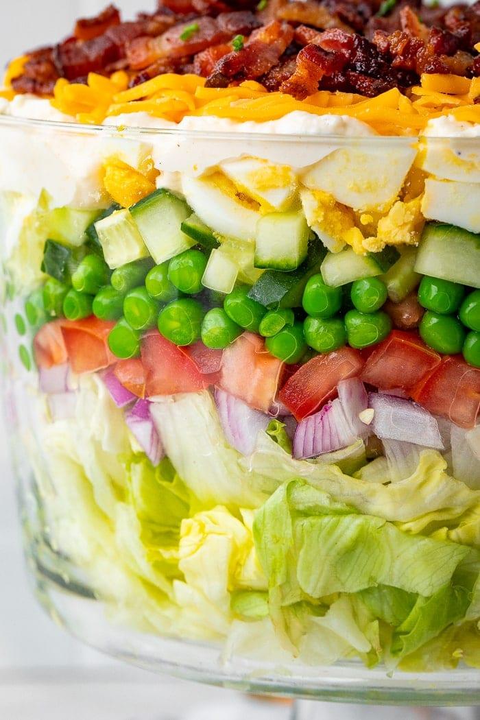 Close-up of 7 layer salad