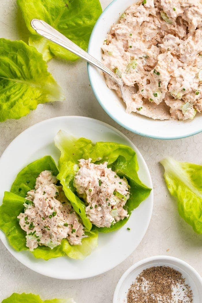 Two leaves of lettuce filled with keto tuna salad