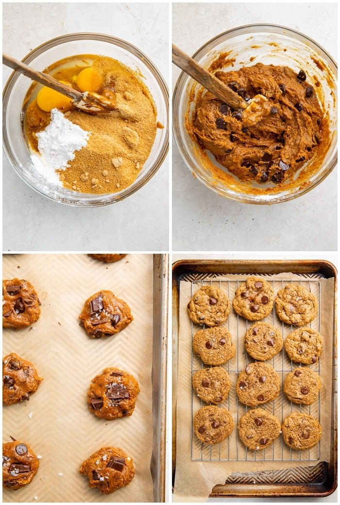Instructions for paleo chocolate chip cookies