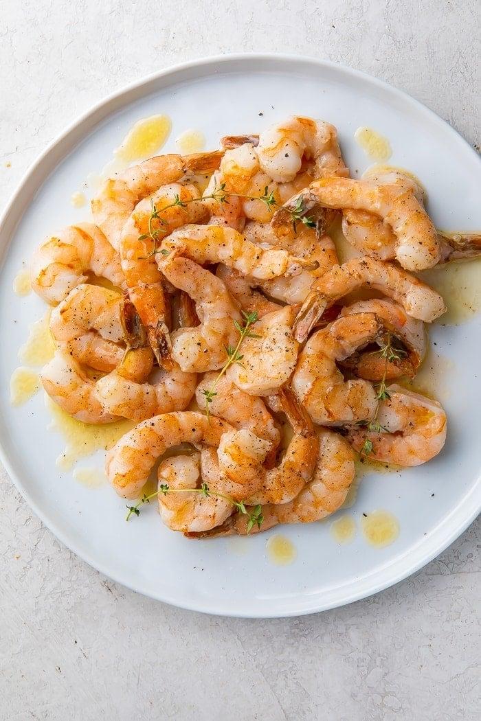 Sous vide shrimp on a plate