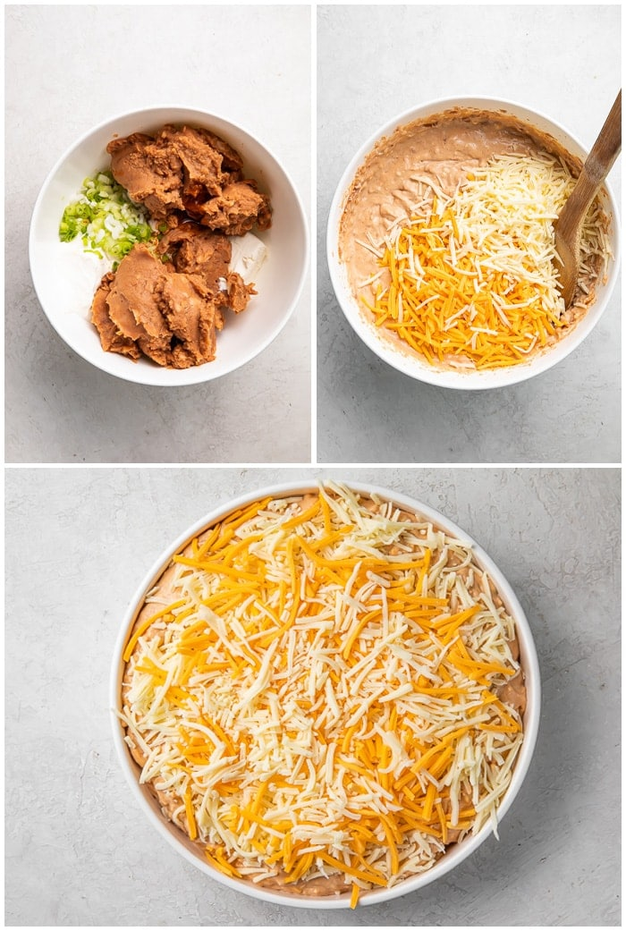 Instructions for bean dip showing the ingredients in one bowl, being mixed together with cheese in the second, and cheese sprinkled on top in the third