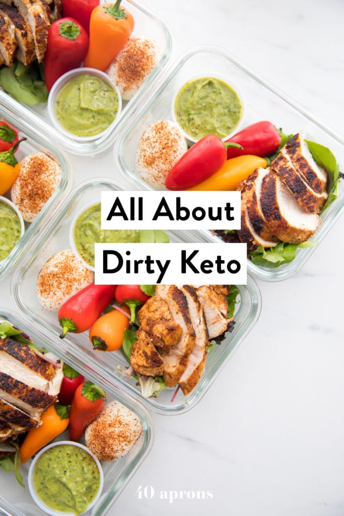 Healthy Mexican chicken meal prep with overlay text All About Dirty Keto