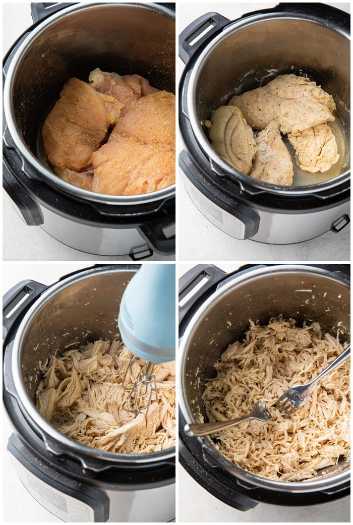 Instructions for making shredded chicken in the Instant Pot