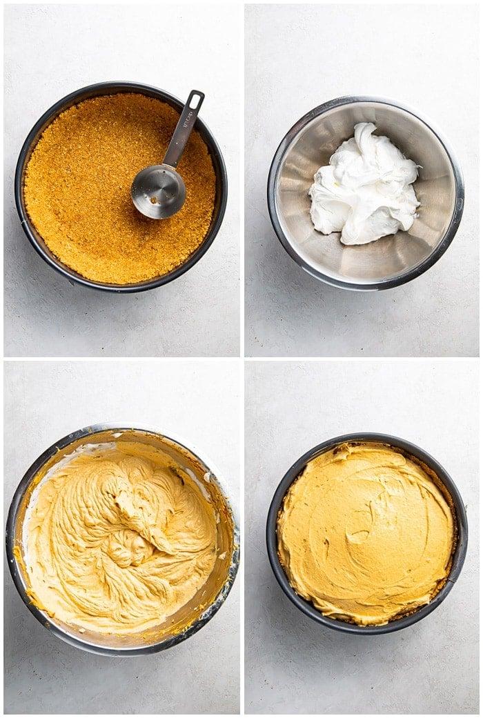 Instructions for making no bake pumpkin cheesecake