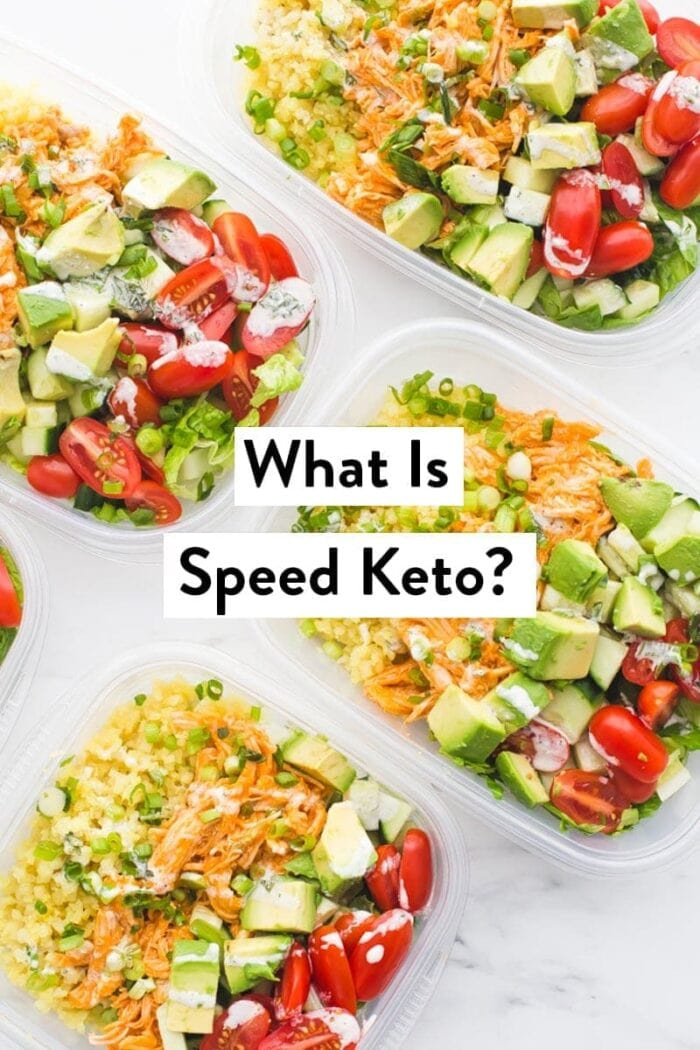Overhead shot of keto meals prepped in plastic containers overlayed with What is Speed Keto? text