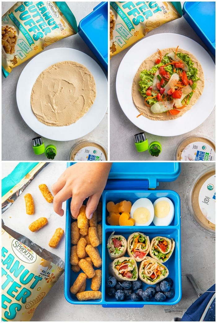 Steps to make hummus wrap for vegetarian bento box lunch