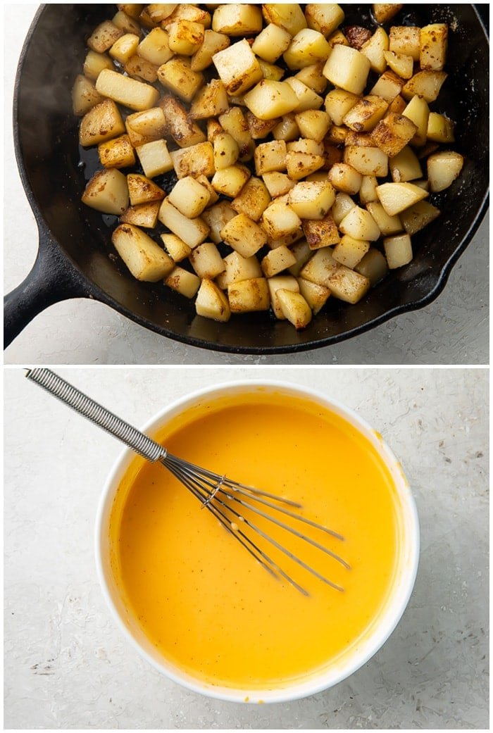 Instructions for cheesy fiesta potatoes showing a skillet with potato cubes cooking and nacho cheese dip being stirred in a bowl