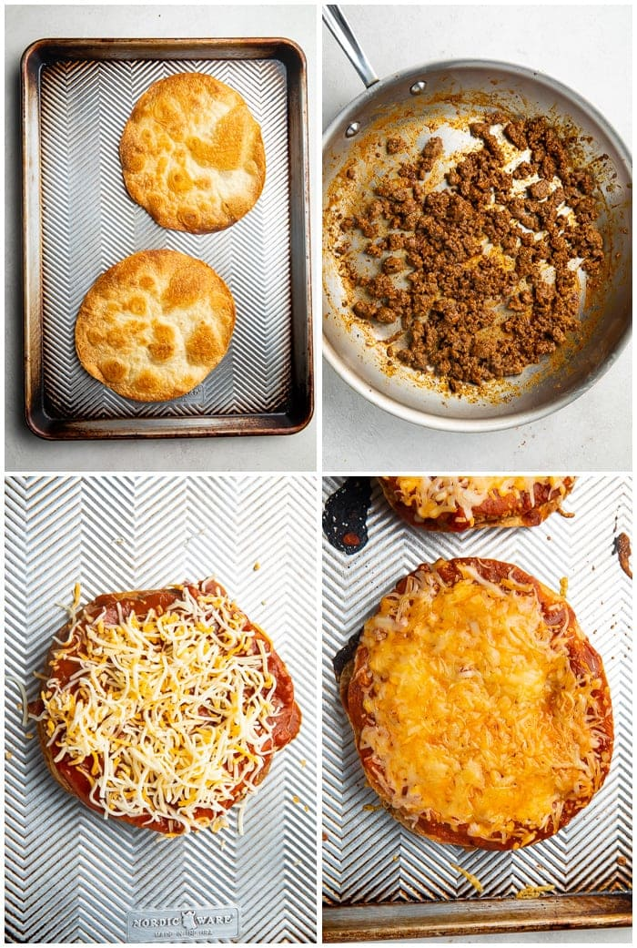 Instructions for Taco Bell Mexican pizza showing first two tortillas that have been baked, then a skillet with ground beef in it, then a Mexican Pizza sprinkled with cheese, then a cooked Mexican pizza with melted cheese