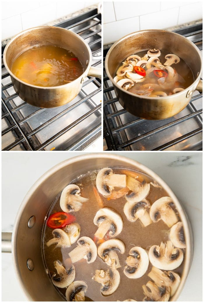 3 photos showing tom yum cooking on a stove