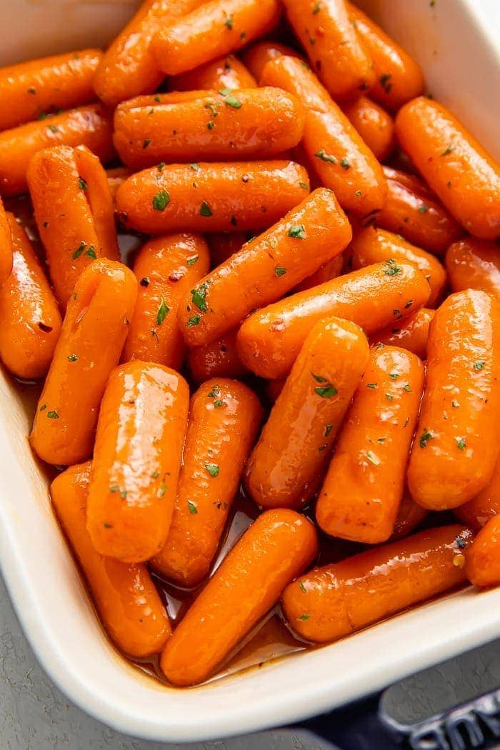 Candied carrots in a baking dish
