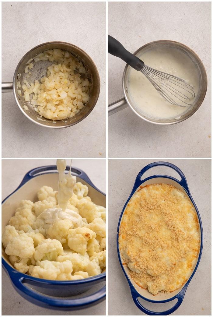 Instructions for making cauliflower au gratin