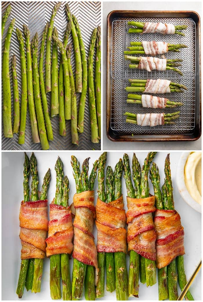 3 photo graphic showing the steps to make baked bacon-wrapped asparagus stalks