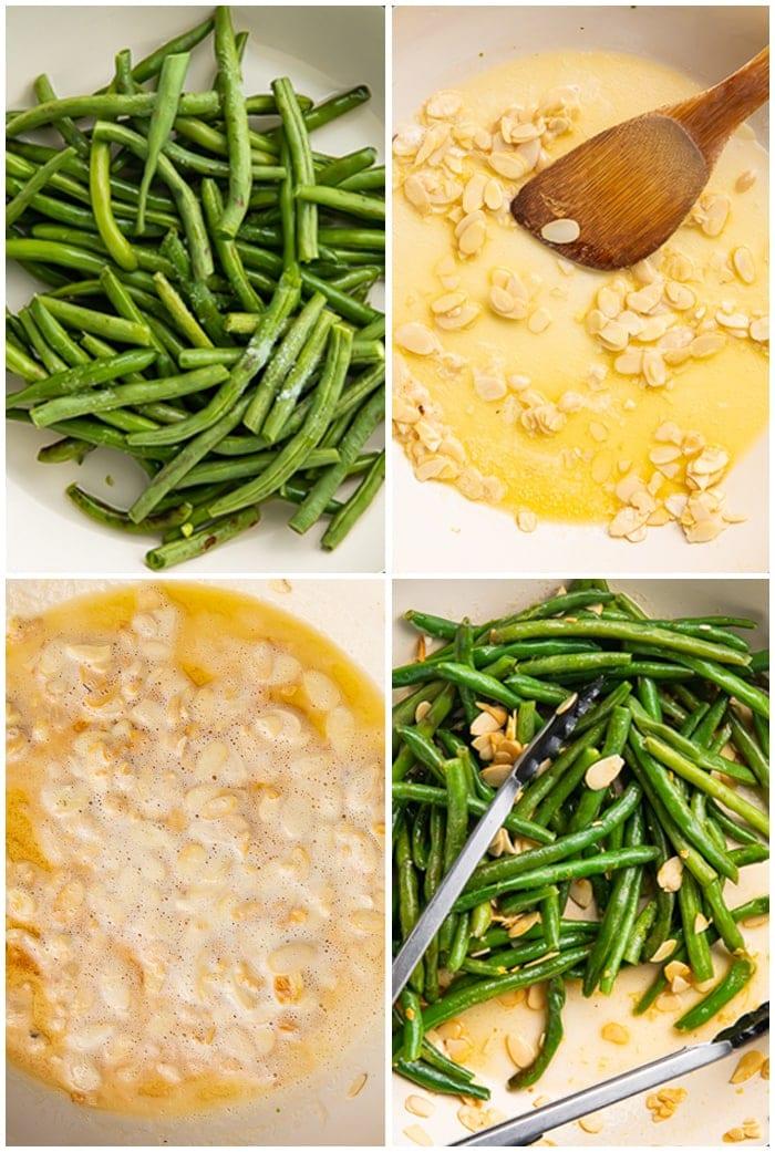 4 photo graphic illustrating how to create green bean amandine