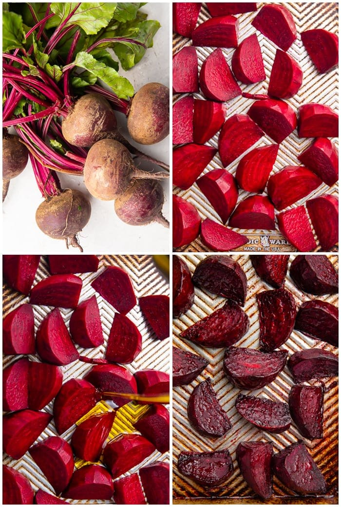 4-photo graphic demonstrating how to roast halved beets on a sheet pan
