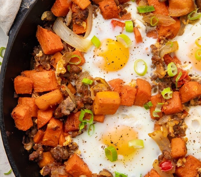Sweet potato has in a skillet