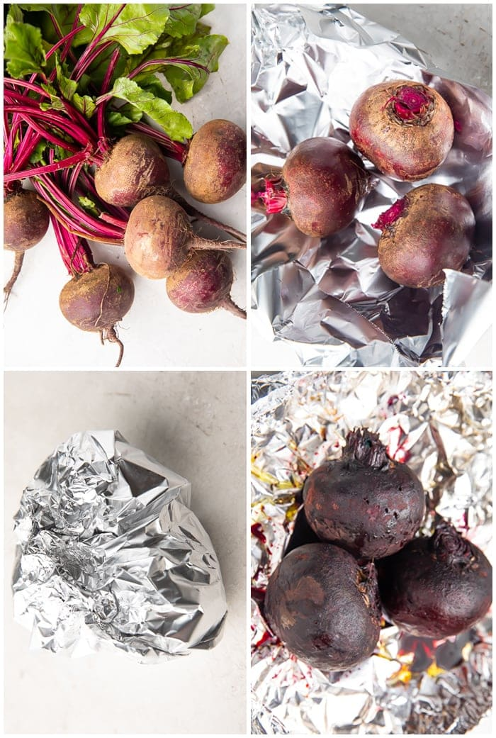 4-photo graphic demonstrating how to roast whole beets in foil